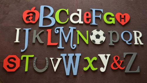 Wooden Alphabet Wall Decor, Style 017