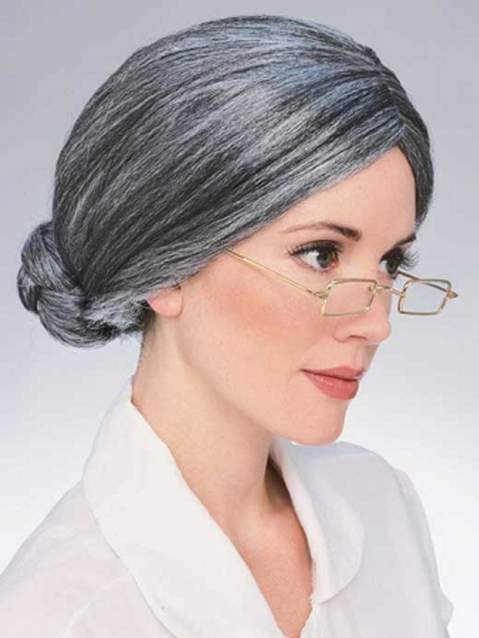 Deluxe Old Lady Wig Grey Hair in a Bun