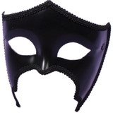 Black Venetian Mask Unisex Glasses Style Classic Mardi Gras Mask