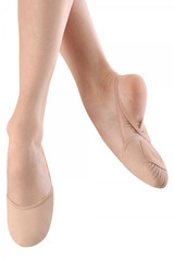 Contemporary and lyrical shoe that protects the toes and ball of the foot while dancing with a barely there look.  Features  Supple leather upper Vamp cut hugs the foot without restricting movement Silicone backing on elastic strap to prevent strap from slipping while on foot Cotton terry lining under foot for comfort Leather front outsole with traditional ballet shoe pleating for turning ease Fabric  Leather
