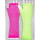 Fingerless Fishnet Elbow Length Gloves