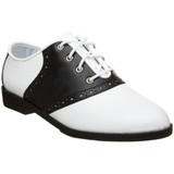 "Adult black and white saddle oxford 1"" heel"