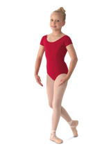 A stylish cap sleeve leotard for children that features a modest scoop neckline and front princess seams. High quality Microlux in wide variety of Mirella Classic colors.  Features  Moderate scoop front & back Two front princess seams and a center back seam Full front lining Ballet leg line Fabric  90% Nylon, 10% Spandex Notes  Machine wash cold, lay flat to dry