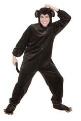 Monkey Brown Microfiber Adult Jumpsuit w/ Hood & Shoe Covers