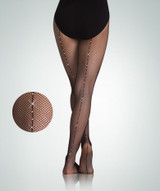 Body Wrappers Ladies Rhinestone Backseam TotalSTRETCH Fishnet Tights A64
