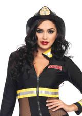 Black Fireman Hat.  Color: Black  One size