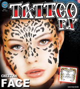Face Tattoo FX Cheetah Temporary Tattoo Sheet