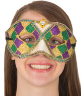 Mardi Gras Mask in Traditional Colors with Gem