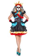 Day of the Dead Darling Full Figure Dress w/ Veil Choker & Gloves (70755Q)