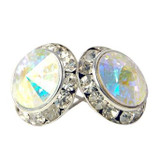 13MM With Aurora Swarovski Crystal Earrings w/ Surgical Steel Post