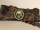 Pirate Belt Distress Brown with Skull