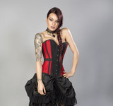 Morgana Overbust Taffeta Corset Red and Black