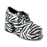 "70's Pimp Shoes Men's 3"" Platform Disco Shoe - Zebra Print"