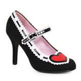 """Alice in Wonderland 4"""" Heel Heart Black Pump Shoe"""