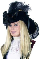 Black Velvet Pirate Hat w/ Gold Trim