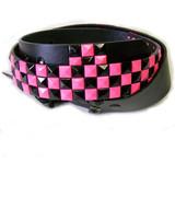 Black & Pink Checkered Studded Belt