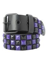 Black & Purple Checkerboard Studded Belt