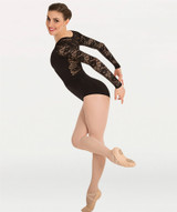 Long Sleeve Lace Back Leotard Nylon/Spandex  * Flattering V-front neckline with zipper * Matching lace sleeves & back * memorySTRETCH™ front lining * Custom Tiler Leg Line & Fit