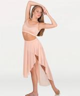 Asymmetrical Petal Front Slit Power Mesh Skirt Shiny Nylon/Spandex  Asymmetrical petal front slit power mesh skirt features a solid matching covered elastic waistband.