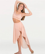 Asymmetrical Petal Front Slit Power Mesh Skirt Shiny Nylon/Spandex  Asymmetrical petal front slit power mesh skirt features a solid matching covered elastic waistband.