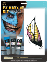 FX Transfers Latex Free 2 Faced makeup kit self adhesive transfers   This kit includes:  1 Big Mouth Tattoo 3 FX Makeup Colors 1 FX Makeup Brush This kit combines our temporary tattoo Big Mouth Tattoo FX with our new line of FX Makeup. Everything in this kit was designed for easy application with maximum results in character creation.