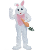 Rent: Big Head Blue Eye Easter Bunny Premium White Rabbit Mascot