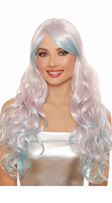 Long Wavy Lavender and Blue Layered Wig