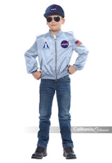 This officially licensed NASA costume comes with a flight jacket and cap. The zipper jacket is decorated with three patches: NASA insignia, Space Shuttle and American Flag. child size