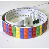 Rainbow multi color 90's style studded belt