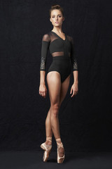 This knockout leotard is a versatile leotard for the contemporary dancer. Mesh shoulders meet 3/4 length sleeves featuring embroidered cut out motif on the sleeve. A gorgeous v-neckline meets mesh panels that wrap around to the back decorating the back and sides. Seaming and paneling detail flatter the figure.  Features  V neck and high zipper back Mesh shoulders and back panels Embroidered cut out motif decorates 3/4 sleeves Front lining High cut line Notes  Machine wash cold, lay flat to dry.