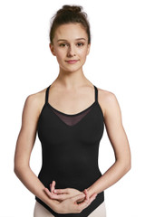 This camisole style leotard is crafted with a scoop front neckline that features a peek-a-boo powermesh vee insert. Floral jacquard mesh back panel draws the line of the eye to the most narrow part of the waist for a flattering fit. The floral jacquard mesh back panel has an ombre-like quality as it slowly darkens as your eye moves down the back.  Features  Scoop front and high back Wide camisole straps for added support Power mesh peek-a-boo vee front insert Floral jacquard back panel Full front lining Notes  Machine wash cold, lay flat to dry