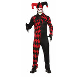 Evil jester adult costume with mask red and black