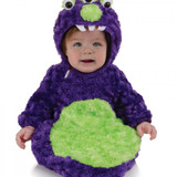 3 Eyed Monster Purple Fur Bunting with Hood