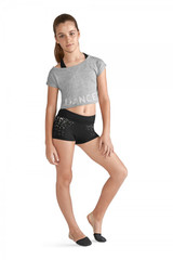 """A great layering piece for young dancers. This loose fit crop tee shirt ties in the back creating a keyhole that shows off what's underneath. Boatneck styling gives it a classic dance look. Dance is printed across the front hem.  Features  Boatneck Tee shirt styling Tie back with keyhole Printed bodice: """"DANCE"""" Loose fit Crop length Notes  Machine wash cold, lay flat to dry"""