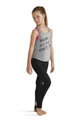 """Add style to your dance wardrobe with this inspirational open mesh panelled racerback tank top with printed bodice. A classic tank style f'eatures open mesh tank straps that continue into a mesh racerback and trails all the way down the back. A loose fit makes this an easy piece to throw over a crop top or a leotard for a variety of activities.  Features  Mesh straps and back panel Loose fit Tank styling Printed bodice: """"Dancers don't need wings to fly"""" Notes  Machine wash cold, lay flat to dry"""
