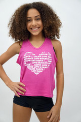 Love Dance Love Dance Love Dance...with a Heart cut out on back.