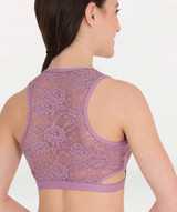 Nylon/Spandex  Tank lace back bra has side cut-outs, covered elastic torso band and features a memory stretch™ front lining.  available colors: white, black and navy