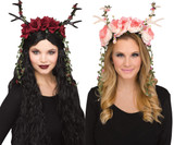 Faun Fantasy Headpiece With Flowers
