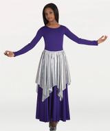 Metallic Handkerchief Hem Drape Skirt
