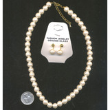 Pearl Choker Necklace and Earrings