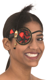 Pirate Eyepatch Red & Black w/ Black Feather