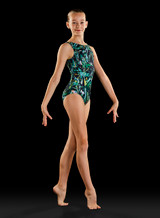 Bloch Printed Techno Tank Gymnastics Leotard Ladies With Scrunchie