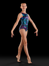 Bloch Jigsaw Tank Gymnastics Leotard Girls With Scrunchie