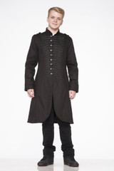 Mens Black Brocade 3 Button Row Long Coat