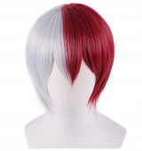 Aether Totoroki Layered Short Cosplay Wig Classic White and Dark Red