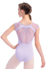 Adult Sleeveless Leotard with Mesh Shoulders and Full Back Detailing
