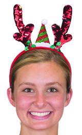Flip Sequin Reindeer Antlers Headband w/Santa Hat