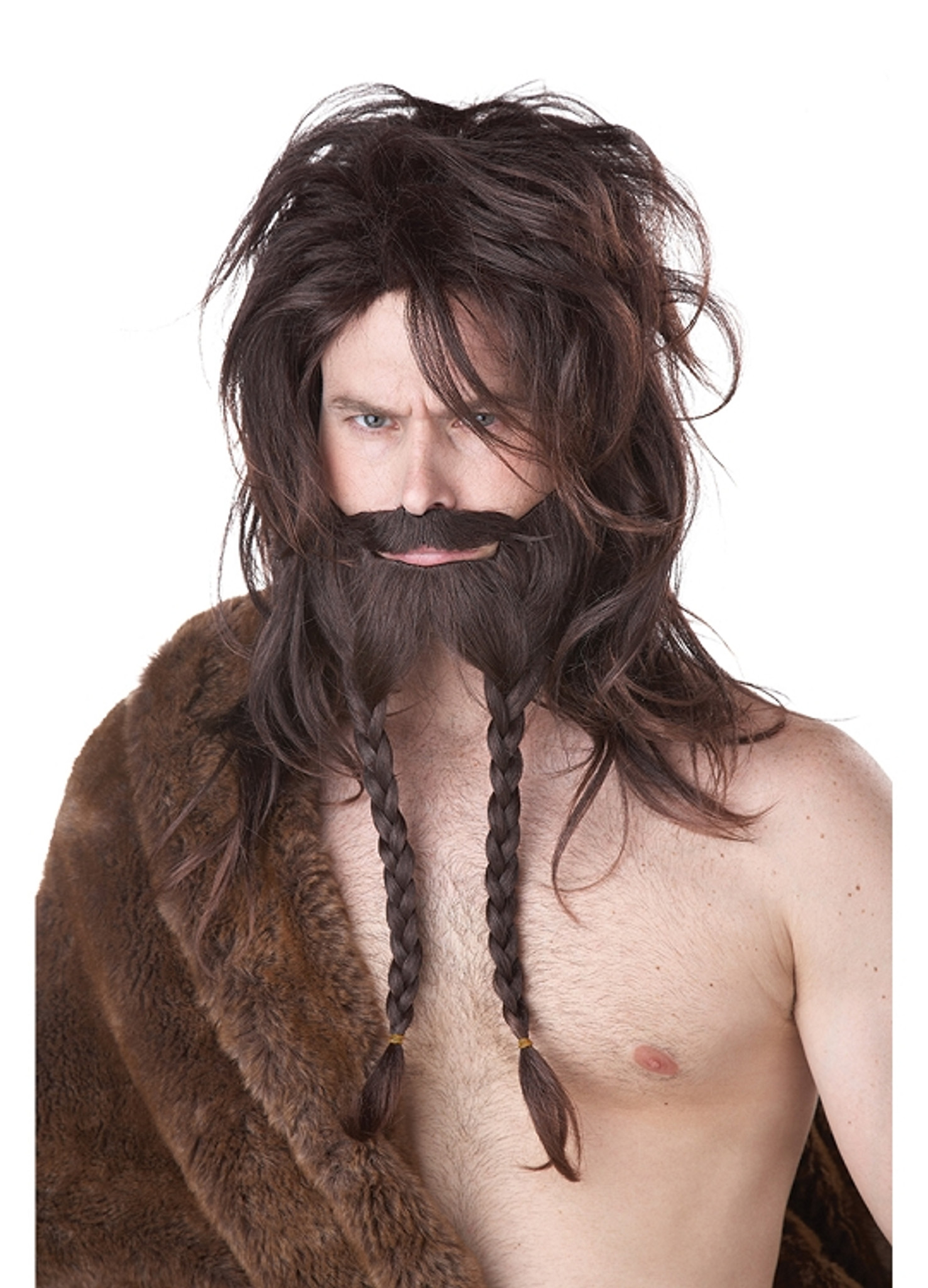 Viking Wig W Braided Beard Brown