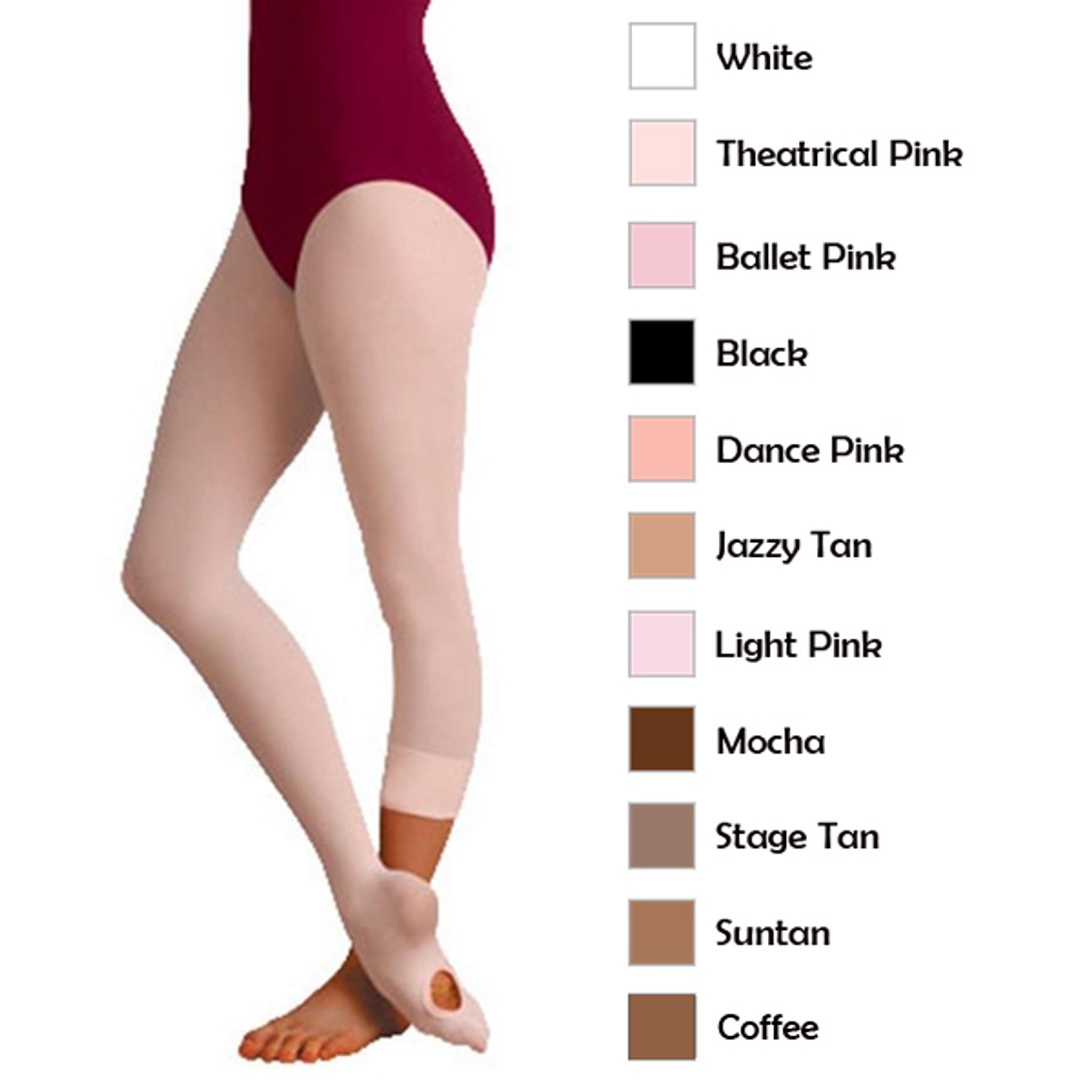 Body Wrappers A31 Women/'s Size Small//Medium Ballet Pink Convertible Tights