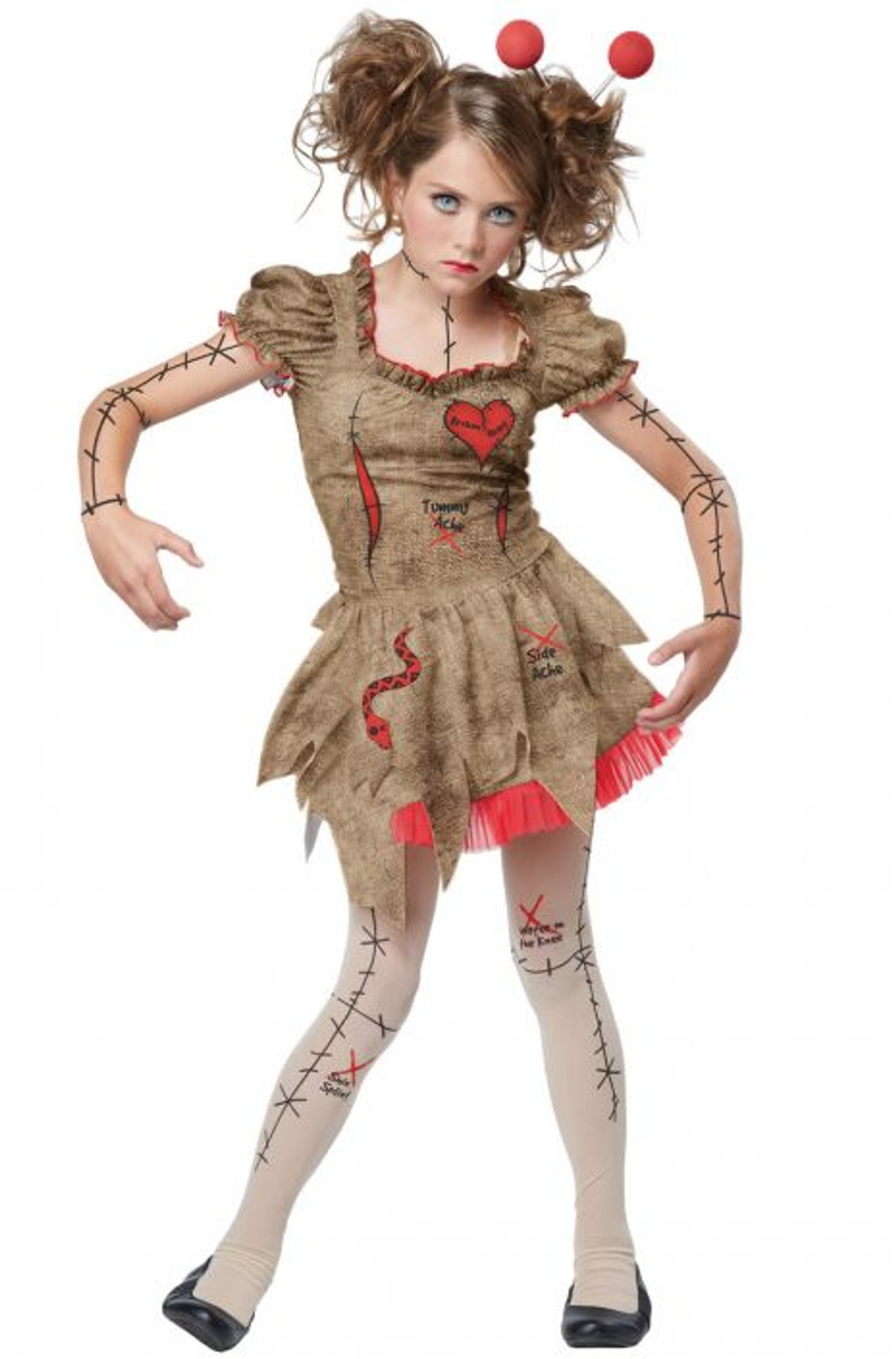 Voodoo Dolly Tween Costume with Clip-On Safety Light Included